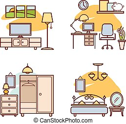 Home room icons. Living room, bedroom, work space for your...