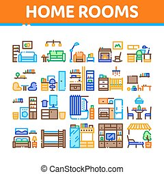 Home Rooms Furniture Collection Icons Set Vector