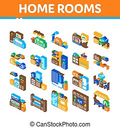Home Rooms Furniture Isometric Icons Set Vector