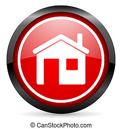 home round red glossy icon on white background