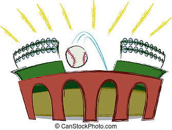 A baseball being hit out of the park.