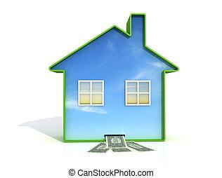 home saving - concept of saving with ecological house - euro...