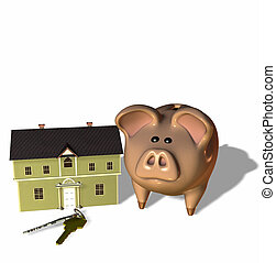 Home Savings - Concept of saving for the future to purchase...