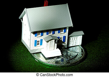 Home Savings - Miniature House on a Quarter. Home Savings...