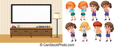 Home scene and set of sick children on white background