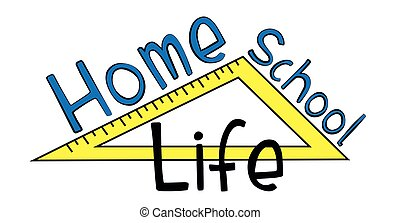 Home School Life- text with ruler.