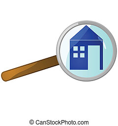 Home search - Glossy illustration of a magnifying lens over...