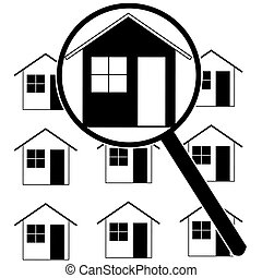 Home search - Icon set showing a magnifying glass...