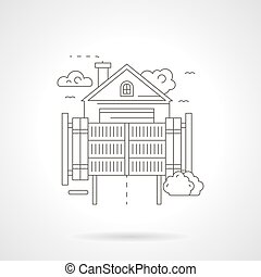 Home secure gateway detailed line vector icon