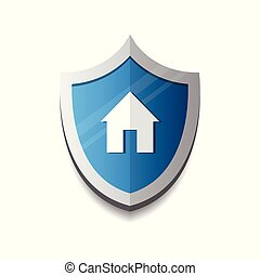 Home Security And Protection Icon Concept Shield With House Logo