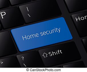 Home security   button on keyboard. Home security concept