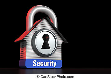 Home Security Concept House Lock for Right Text