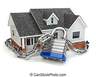 Home security concept. House with lock and chain