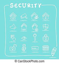 Home security concept icon set