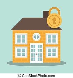 home security concept padlock