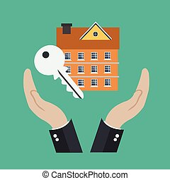 Home security concept. Real estate. Flat vector illustration