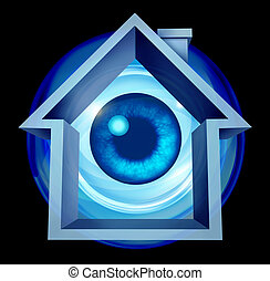 Home security system and house owner protection with alarm warning of risk as a residential shaped building with an eye ball looking as protection monitoring from hazards like flooding fire and burglary crimes.