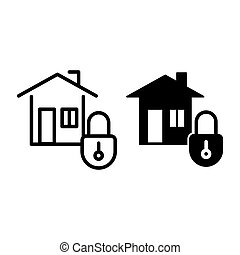 Home security line and glyph icon. House with lock vector illustration isolated on white. Safe home outline style design, designed for web and app. Eps 10.