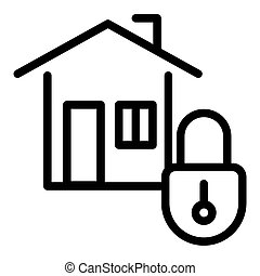 Home security line icon. House with lock vector illustration isolated on white. Safe home outline style design, designed for web and app. Eps 10.