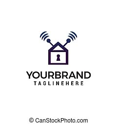 home security logo design concept template vector