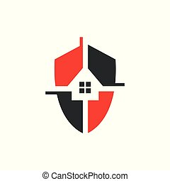 Home Security logo design vector template illustration