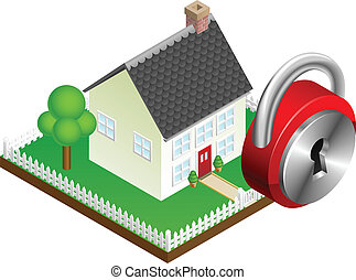Home security system concept, suburban family home and padlock icon