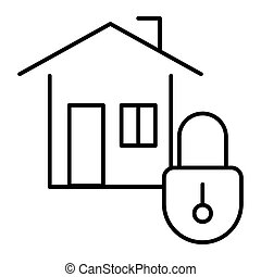 Home security thin line icon. House with lock vector illustration isolated on white. Safe home outline style design, designed for web and app. Eps 10.