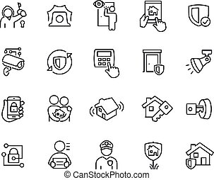 Home Security Thin Line Icons