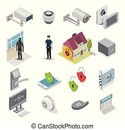Home security vector isometric icon set