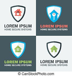 Home Security with Shield Logo Design Concepts