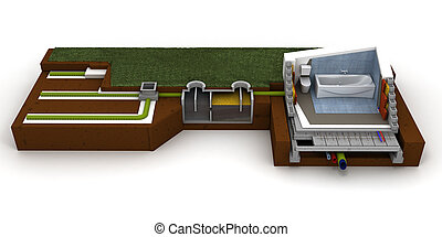 Home sewage system - 3D rendering of a house cross section ...