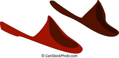 Home shoes, illustration, vector on white background.
