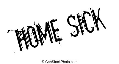 Home Sick rubber stamp. Grunge design with dust scratches....