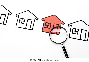 Real Estate Concept - home sign and Magnifying Glass , Real ...