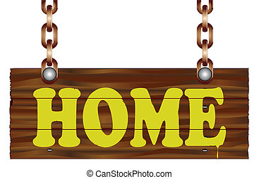 Home Sign - A hanging wooden sign isolated against a white...