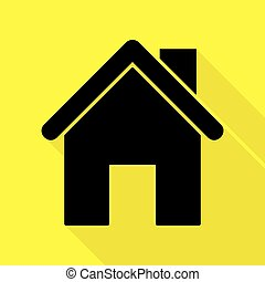 Home silhouette illustration. Black icon with flat style shadow path on yellow background.