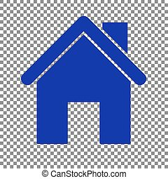 Home silhouette illustration. Blue icon on transparent backgroun