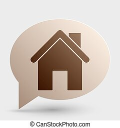 Home silhouette illustration. Brown gradient icon on bubble with shadow.