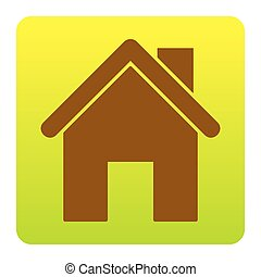 Home silhouette illustration. Vector. Brown icon at green-yellow gradient square with rounded corners on white background. Isolated.