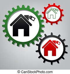 Home silhouette with tag. Vector. Three connected gears with ico