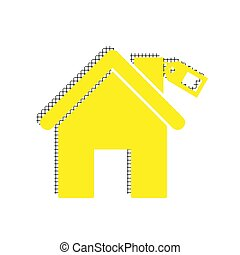 Home silhouette with tag. Vector. Yellow icon with square patter