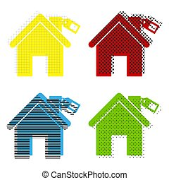 Home silhouette with tag. Vector. Yellow, red, blue, green icons