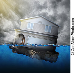 Home Sinking in Water - A house is sinking in water for a ...