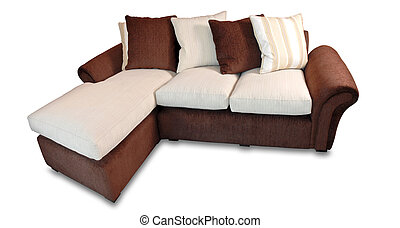 Home sofa in warm tones isolated over white