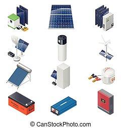 Home solar energy equipment isometric icon set