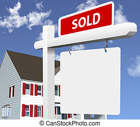Sharp, bright illustration of a SOLD real estate sign in front of a new home. Clean 3D/vector render NOT a photo.