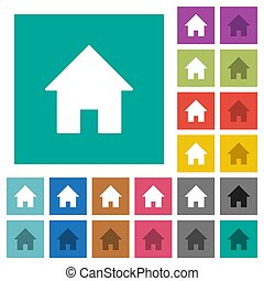 Home square flat multi colored icons