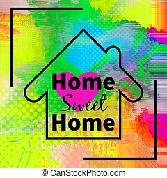 Home sweet home background design with purple heart