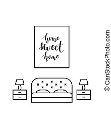 Home sweet home calligraphy in a bedroom