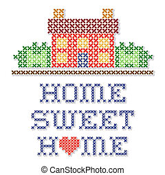 Home Sweet Home Embroidery - Retro cross stitch needlework...